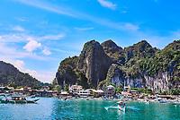 El Nido Palawan Philippines-April 5, 2015 :El Nido port harbour city in Palawan Philippines
