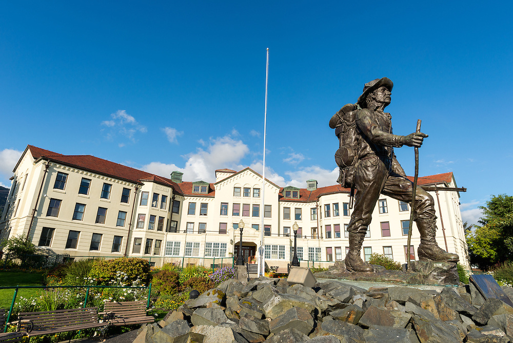 Prospector statue in front of the Pioneer Home in Sitka, Alaska.