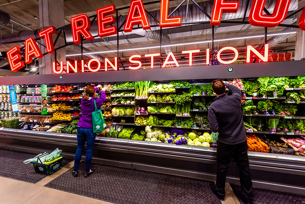 Fresh organic produce at Whole Foods Market Union Station in the LoDo section of Downtown Denver, Colorado USA.
