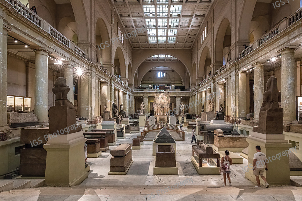 inside the central hall of the Egyptian Museum of Antiquities, Cairo, Egypt