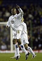 Photo. Aidan Ellis, Digitalsport.<br /> Leeds United v Leicester City.<br /> FA Barclaycard Premiership.<br /> 05/04/2004.<br /> Leeds Michael Duberry celebrates his goal and teams first