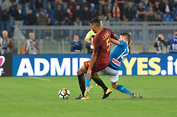 October 14, 2017 - Rome, Italy - Dries Mertens, Juan Jesus during the Italian Serie A football match between A.S. Roma and S.S.C. Napoli at the Olympic Stadium in Rome, on october 14, 2017. (Credit Image: © Silvia Lor/Pacific Press via ZUMA Wire)