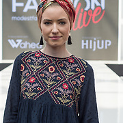 Abdiya Iman attend Modest and beautiful at the Modest and Beautiful a Modest Fashion Live at The Atrium in Westfield London on June 24, 2018.