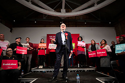 © Licensed to London News Pictures. 11/12/2019. London, UK. Leader of the Labour Party Jeremy Corbyn on stage at the party's final rally of the General Election campaign. Voters will head to polling stations tomorrow for the 2019 General Election. Photo credit: Rob Pinney/LNP