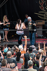 Jack Schit hosted the wet-t shirt contest on the main stage at the Laconia Roadhouse during Laconia Motorcycle Week. NH, USA. Wednesday, June 13, 2018. Photography ©2018 Michael Lichter.