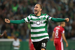 November 22, 2017 - Lisbon, Portugal - Sporting's forward Bas Dost from Holland celebrates after scoring a goal during the UEFA Champions League group D football match Sporting CP vs Olympiacos FC at Alvalade stadium in Lisbon, Portugal on November 22, 2017. Photo: Pedro Fiuza (Credit Image: © Pedro Fiuza via ZUMA Wire)