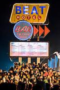 Crowds gather at the Beat Hotel - The 2016 Glastonbury Festival, Worthy Farm, Glastonbury.
