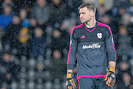 David Marshall (c) (Cardiff City) during the Sky Bet Championship match between Hull City and Cardiff City at the KC Stadium, Kingston upon Hull, England on 13 January 2016. Photo by Mark P Doherty.
