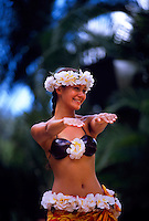 Hula dancer, Waimea Falls Park, Waimea Bay, north shore of Oahu, Hawaii USA