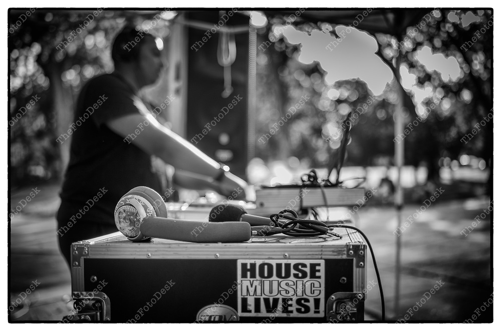 JERSEY CITY, NEW JERSEY:  DJ Ameer lays down the tracks  during the After Work Mondays SoululHouse Music, Club Classics at Arlington Park, in Jersey City, NJ. (Brian B Price/TheFotodesk).