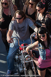 """Chris Wade gets his award at Willie's Tropical Tattoo """"Chopper Time"""" old school chopper show during Daytona Bike Week's 75th Anniversary event. Ormond Beach, FL, USA. Thursday March 10, 2016.  Photography ©2016 Michael Lichter."""