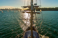 "View of Sydney Harbor from the mast of the tall ship ""Southern Swan"", Sydney, New South Wales, Australia"