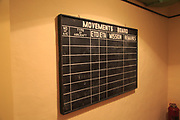 Lascaris War Rooms underground museum, Valletta, Malta blackboard aircraft movements board