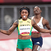 TOKYO, JAPAN August 3: Elaine Thompson-Herah of Jamaica celebrates winning the gold medal in the 200m Final for women at the Olympic Stadium at the Tokyo 2020 Summer Olympic Games on August 3rd, 2021 in Tokyo, Japan. (Photo by Tim Clayton/Corbis via Getty Images)