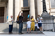 Writer and photographer Quintin Lake walks up the steps of St. Paul's Cathedral to greet his family after his epic 5-year, 10.000km walk around the entire coastline of the UK for his The Perimeter project, on 15th September 2020, in London, England.