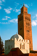 MOROCCO, MARRAKECH the Koutoubia Minaret; 12thC. Almohade Dynasty and the city's major monument
