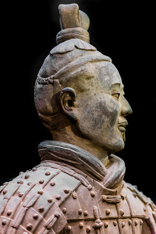 Statue of an Archer, Terracotta Warriors, Terracotta Army of Emperor Qin Shi Huang, the first emperor of China. The Army was buried with the Emperor in about  210–209 BCE. Their purpose was to protect the emperor in the afterlife. Xi'an, Shaanxi Province, China.