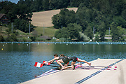 """Lucerne, SWITZERLAND, 12th July 2018, Thursday Canadian, """"Lightweight Women's, Doubles Sculls"""", reach out to, """"tighten their, oarlock, gates"""", FISA World Cup III, Lake Rotsee, © Peter SPURRIER,"""