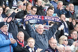 South stand, at the end of the game.<br /> Falkirk 1 v 0 Morton, Scottish Championship game  played 1/5/2016 at The Falkirk Stadium. Pics by Ross Schofield.