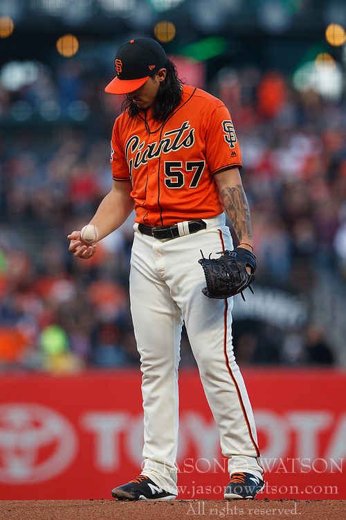 SAN FRANCISCO, CA - JULY 06: Dereck Rodriguez #57 of the San Francisco Giants stands on the pitchers mound during the first inning against the St. Louis Cardinals at AT&T Park on July 6, 2018 in San Francisco, California. The San Francisco Giants defeated the St. Louis Cardinals 3-2. (Photo by Jason O. Watson/Getty Images) *** Local Caption *** Dereck Rodriguez