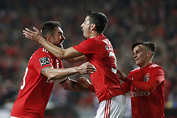 December 23, 2018 - Lisbon, Portugal - Jardel Vieira of Benfica  (L) celebrates his goal  with Andre Almeida of Benfica  (C) and Franco Cervi of Benfica (R)  during the Portuguese League football match between SL Benfica and SC Braga at Luz Stadium in Lisbon on December 23, 2018. (Credit Image: © Carlos Palma/NurPhoto via ZUMA Press)
