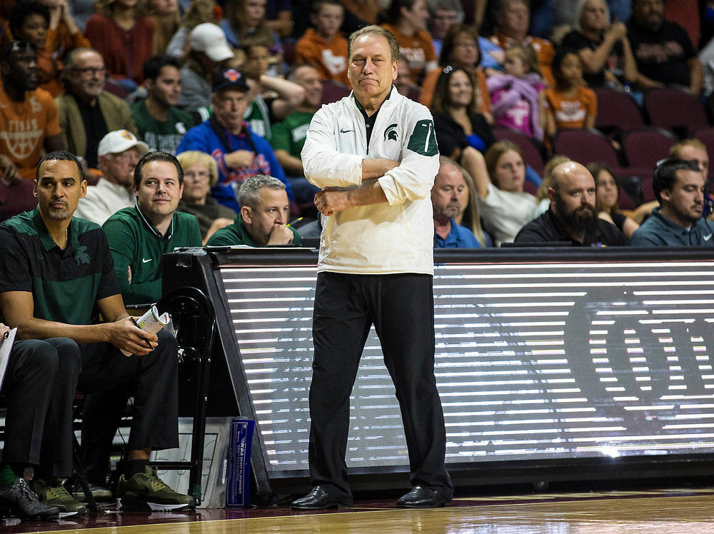 Nov 23  2018 Las Vegas, NV  U.S.A.  Michigan State head coach Tom Izzo during the NCAA Men's Basketball Continental Tire Las Vegas Invitational between Texas Longhorns and the Michigan State Spartans 78-68 win at The Orleans Arena Las Vegas, NV. Thurman James / CSM