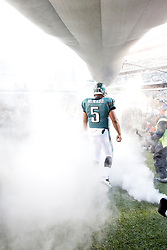 Philadelphia Eagles quarterback Donovan McNabb #5 enters the field before the NFL game between the Denver Broncos and the Philadelphia Eagles on December 27th 2009. The Eagles won 30-27 at Lincoln Financial Field in Philadelphia, Pennsylvania. (Photo By Brian Garfinkel)