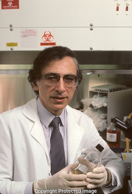 Dr Robert Gallo in his office and lab at the National Institute of Health in May 1984.  This was for a cover story for TIME magazine...Photograph by Dennis Brack  b 22