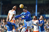 Portsmouth Forward, Oliver Hawkins (9) wins a header during the EFL Sky Bet League 1 match between Portsmouth and Blackpool at Fratton Park, Portsmouth, England on 24 February 2018. Picture by Adam Rivers.