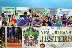 27 June 2015. New Orleans, Louisiana.<br /> National Premier Soccer League. NPSL. <br /> Jesters 1- Georgia Revolution 5.<br /> Jesters supporters The Royal Court as the New Orleans Jesters prepare to play the Georgia Revolution in the Pan American Stadium. <br /> Photo©; Charlie Varley/varleypix.com