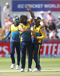 July 1, 2019 - Chester Le Street, County Durham, United Kingdom - Sri Lanka's Lasith Malinga celebrates with his team mates after bowling West Indies' Shai Hope during the ICC Cricket World Cup 2019 match between Sri Lanka and West Indies at Emirates Riverside, Chester le Street on Monday 1st July 2019. (Credit Image: © Mi News/NurPhoto via ZUMA Press)