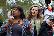 Labour MP Dianne Abbott speaks to and takes questions from climate change activists from the Extinction Rebellion group at Parliament Square who are in protest that the government is not doing enough to avoid catastrophic climate change and to demand the government take radical action to save the planet, on 24th April 2019 in London, England, United Kingdom. Extinction Rebellion is a climate change group started in 2018 and has gained a huge following of people committed to peaceful protests. Diane Abbott is a British politician who has served as the Member of Parliament for Hackney North and Stoke Newington since 1987. She was the countrys first black MP as well as the longest serving black MP in the House of Commons.
