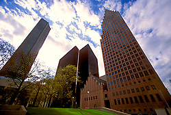 Stock photo of buildings in downtown Houston rising into the sky.