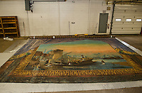 The Moulton Opera House curtain will be cleaned and restored with a public display scheduled for October 2014 at the Laconia Public Library.   (Karen Bobotas/for the Laconia Daily Sun)