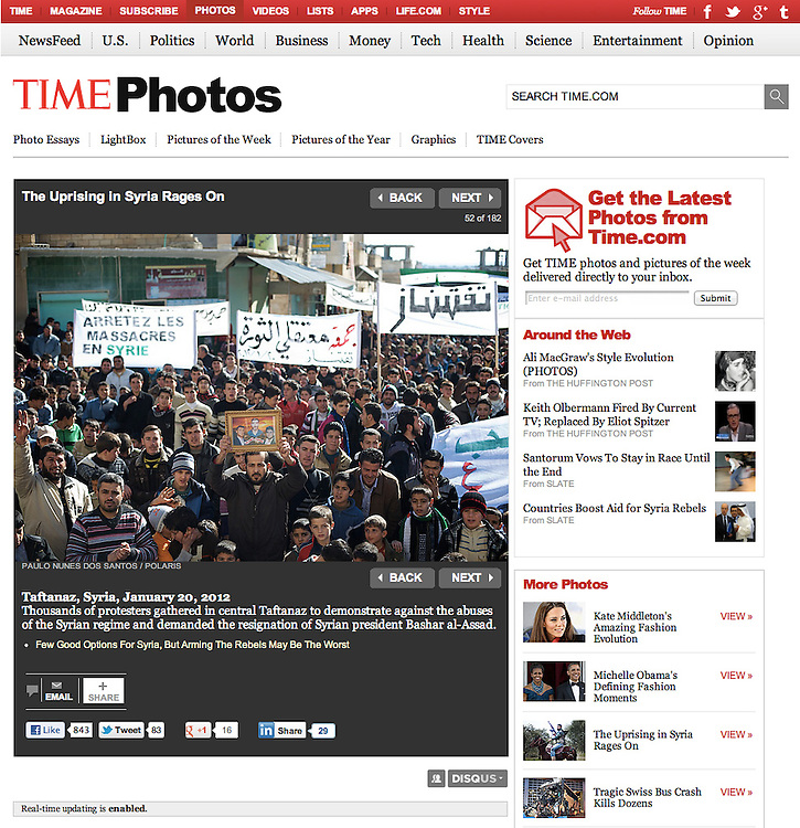 "Screengrab of ""Uprising in Syria rages on"" published in TIME.com"