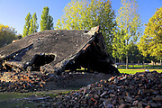 Ruiny - obecny stan komory gazowej i Krematorium III, Auschwitz II-Birkenau.<br /> Ruins - the current state of the gas chamber and Crematorium III, Auschwitz II-Birkenau.