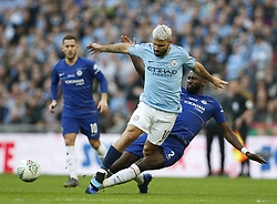 BRITAIN-LONDON-FOOTBALL-CARABAO CUP FINAL-CHELSEA VS MAN London.(190224) -- LONDON, Feb. 24, 2019  Manchester City's Sergio Aguero (C) is tackled by Chelsea's Antonio Rudiger (R) during the Carabao Cup Final match between Chelsea and Manchester City at Wembley Stadium in London, Britain on Feb. 24, 2019. Manchester City won 4-3 on penalties after a 0-0 draw.  FOR EDITORIAL USE ONLY. NOT FOR SALE FOR MARKETING OR ADVERTISING CAMPAIGNS. NO USE WITH UNAUTHORIZED AUDIO, VIDEO, DATA, FIXTURE LISTS, CLUB/LEAGUE LOGOS OR ''LIVE'' SERVICES. ONLINE IN-MATCH USE LIMITED TO 45 IMAGES, NO VIDEO EMULATION. NO USE IN BETTING, GAMES OR SINGLE CLUB/LEAGUE/PLAYER PUBLICATIONS. (Credit Image: © Matthew Impey/Xinhua via ZUMA Wire)