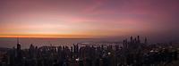 Aerial Panoramic view of Dubai bay at sunset, U.A.E.