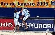 Football - FIFA Beach Soccer World Cup 2006 - Group D - Arg x Nga - Rio de Janeiro - Brazil 02/11/2006<br />Baca Lucas (11) and Minici Facundo  (Arg) celebrates a goal during the game  Event Title Boad Mandatory Credit: FIFA / Ricardo Moraes