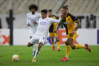 ATHENS, GREECE - OCTOBER 29: James Justinof Leicester City attacks in front of Marko Livajaof AEK Athens during the UEFA Europa League Group G stage match between AEK Athens and Leicester City at Athens Olympic Stadium on October 29, 2020 in Athens, Greece. (Photo by MB Media)