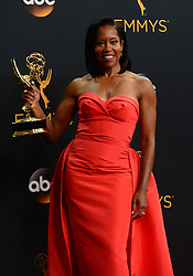 September 18, 2016 - Los Angeles, California, United States - Regina King won the Emmy award for Outstanding Supporting Actress in a Limited Series or Movie, poses backstage at the 68th Annual Emmy Awards at the Microsoft Theater in Los Angeles, California on Sunday, September 18, 2016. (Credit Image: © Michael Owen Baker/Los Angeles Daily News via ZUMA Wire)
