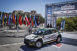 ATHENS, June 1, 2018  Paulo Nobre and his co-pilot Gabriel Morales drive their Skoda Fabia R5 at the starting line of the Acropolis Rally 2018 at the foot of Acropolis hill in Athens, Greece, 1 June 2018. (Credit Image: © Panagiotis Moschandreou/Xinhua via ZUMA Wire)