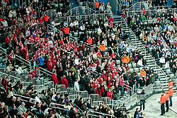 HK Acroni Jesenice fans during ice-hockey match between KHL Medvescak Zagreb and HK Acroni Jesenice in 39th Round of EBEL league, on Januar 8, 2012 at Arena Zagreb, Zagreb, Croatia. (Photo By Matic Klansek Velej / Sportida)