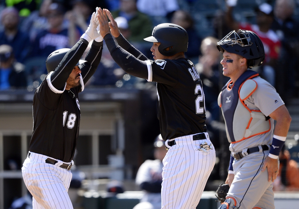 CHICAGO - APRIL 06:  Geovany Soto #10 of the Chicago White Sox celebrates after hitting a home run in the third inning against the Detroit Tigers on April 6, 2017 at Guaranteed Rate Field in Chicago, Illinois.  The White Sox defeated the Tigers 11-2.  (Photo by Ron Vesely)   Subject:  Geovany Soto