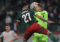 MOSCOW, RUSSIA - OCTOBER 27: Manuel Neuer of FC Bayern Muenchen beats Murilo Cerqueira of Lokomotiv Moskva to the ball during the UEFA Champions League Group A stage match between Lokomotiv Moskva and FC Bayern Muenchen at RZD Arena on October 27, 2020 in Moscow, Russia. (Photo by MB Media)