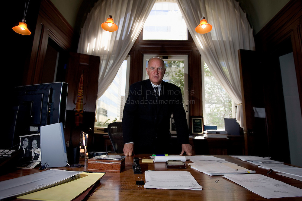 OAKLAND, CA-April 25: Oakland  Mayor Jerry Brown in his office in the City Hall on April 25, 2004 in Oakland, California.  Mayor Brown, who was once the Governor of California, leads one of the more progressive as well as dangerous cities in America. (Photo by David Paul Morris)