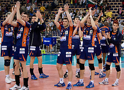 Players of ACH after the 2nd Semifinal match of CEV Indesit Champions League FINAL FOUR tournament between ACH Volley, Bled, SLO and Trentino BetClic Volley, ITA, on May 1, 2010, at Arena Atlas, Lodz, Poland. Trentino defeated ACH 3-1. (Photo by Vid Ponikvar / Sportida)