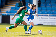 Veatriki Sarris of Birmingham City Women battles for possession with Ashlee Brown of Coventry Utd Ladies during the Women's FA Cup match between Birmingham City Women and Coventry United Ladies at Solihull Moors FC, Solihull, United Kingdom on 18 April 2021.