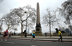 Runners pass Cleopatra's Needle during the 2018 London Landmarks Half Marathon. PRESS ASSOCIATION Photo. Picture date: Sunday March 25, 2018. Photo credit should read: Steven Paston/PA Wire