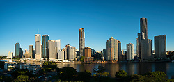 View of skyline at dawn of central business district of Brisbane in Queensland Australia
